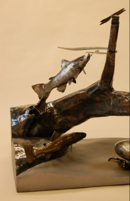 Metal Trout Sculpture, Wildlife Art, NC Wildlife Art
